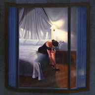 Woman seen thru window