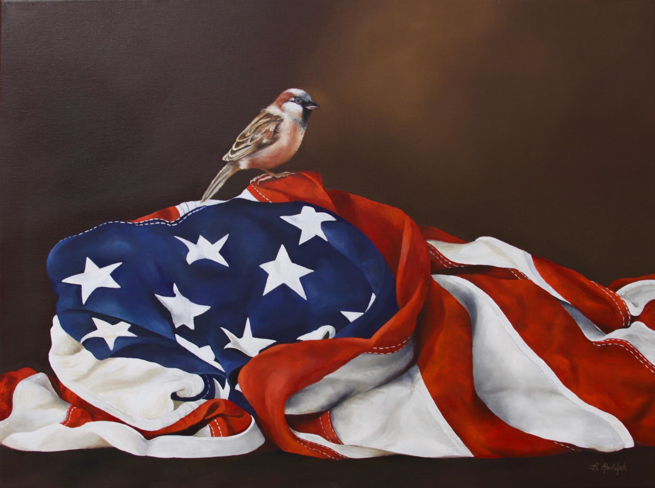 "FREE ""American Tree Sparrow on Flag"""