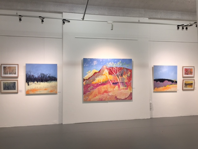 Works by Meg Sprouster and Barb Strand (main wall)