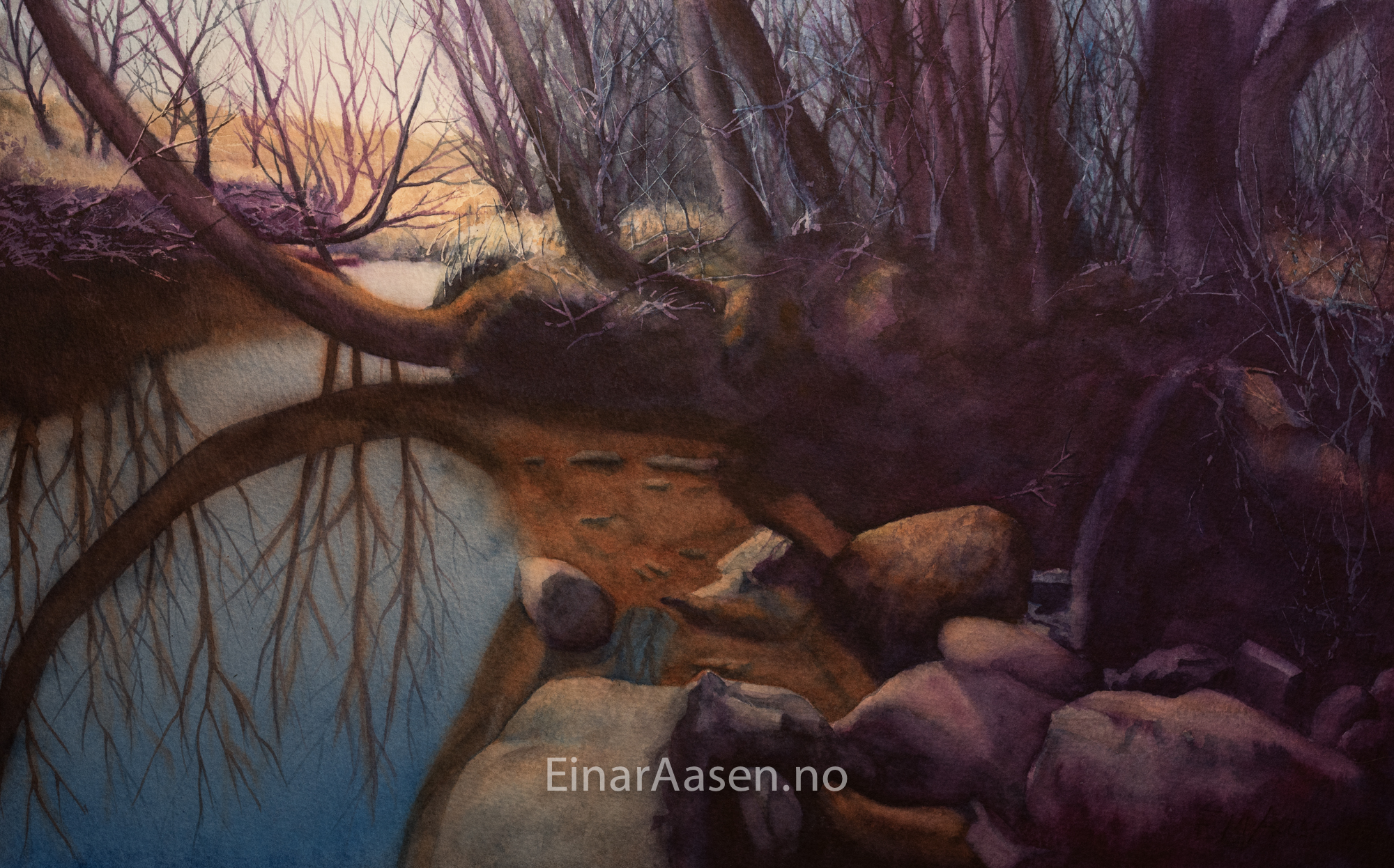 Watercolour painting of a small creek