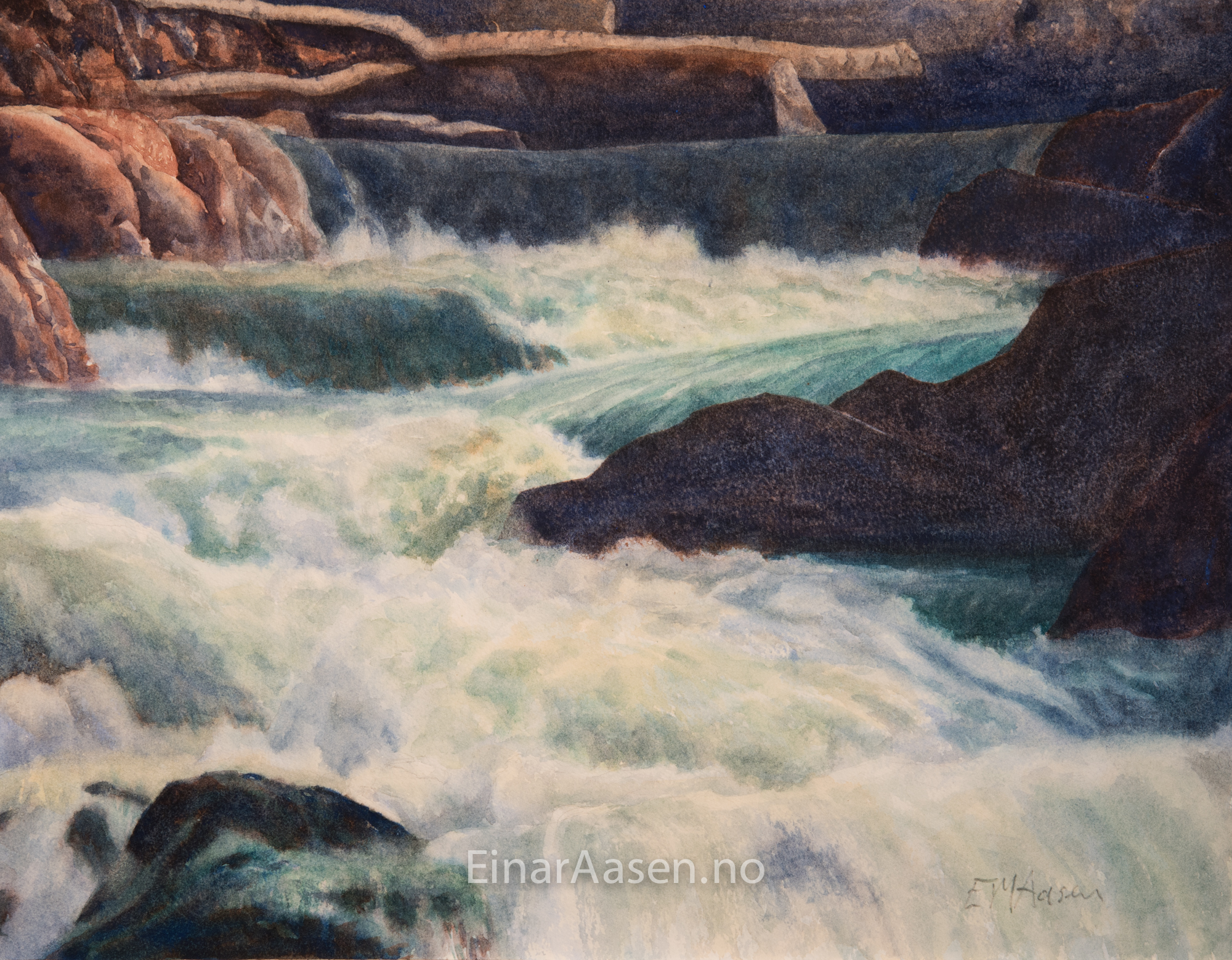 Watercolour painting of small waterfalls in Trøndelag, Norway
