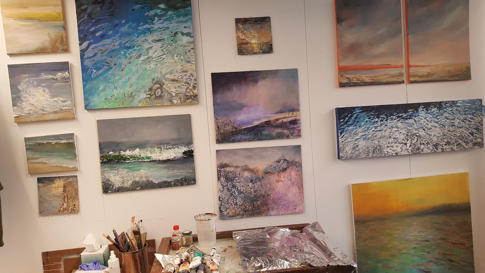 Heather Stivison water paintings art studio