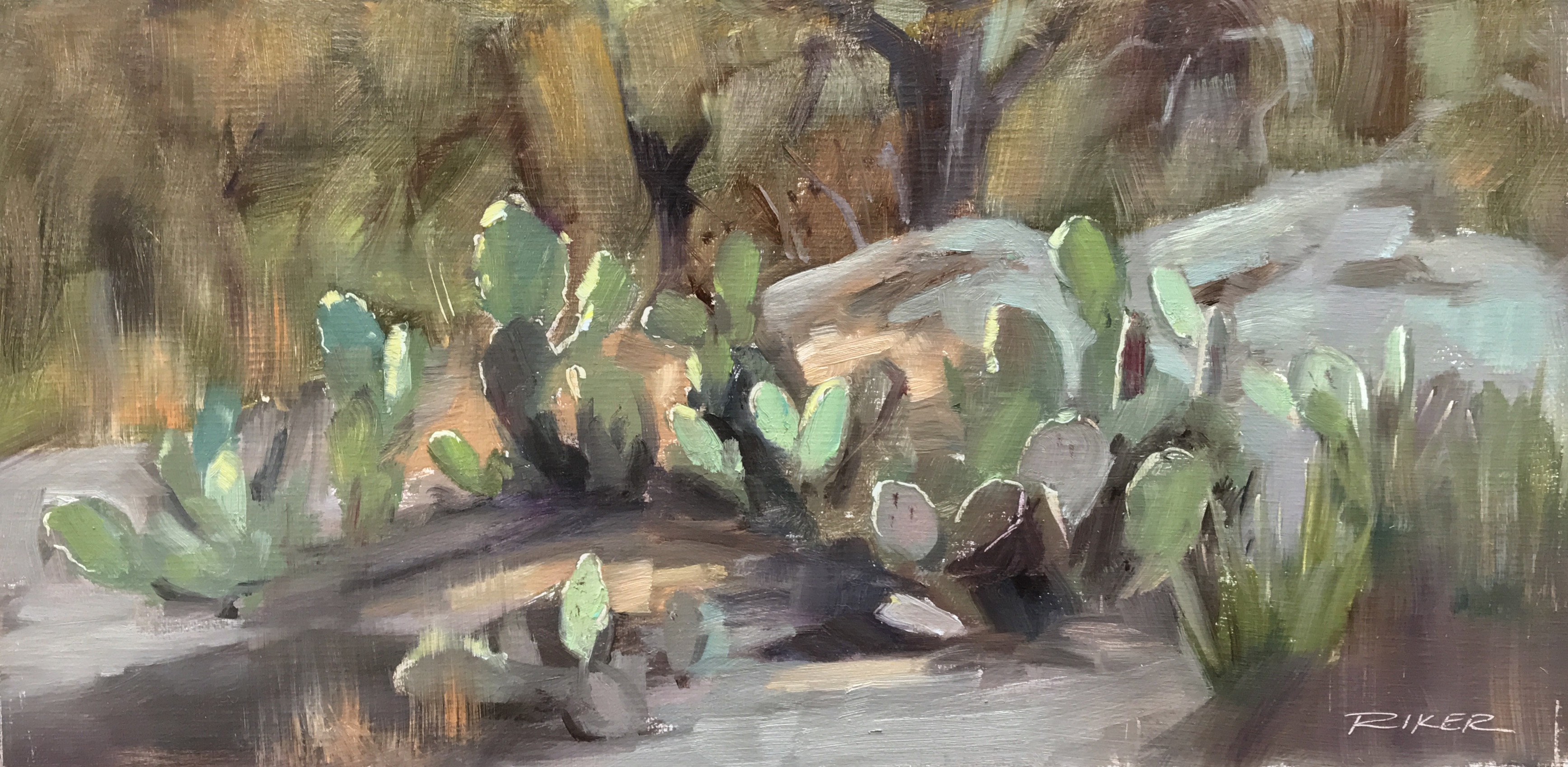 Cactus shapes, 6x12 oil