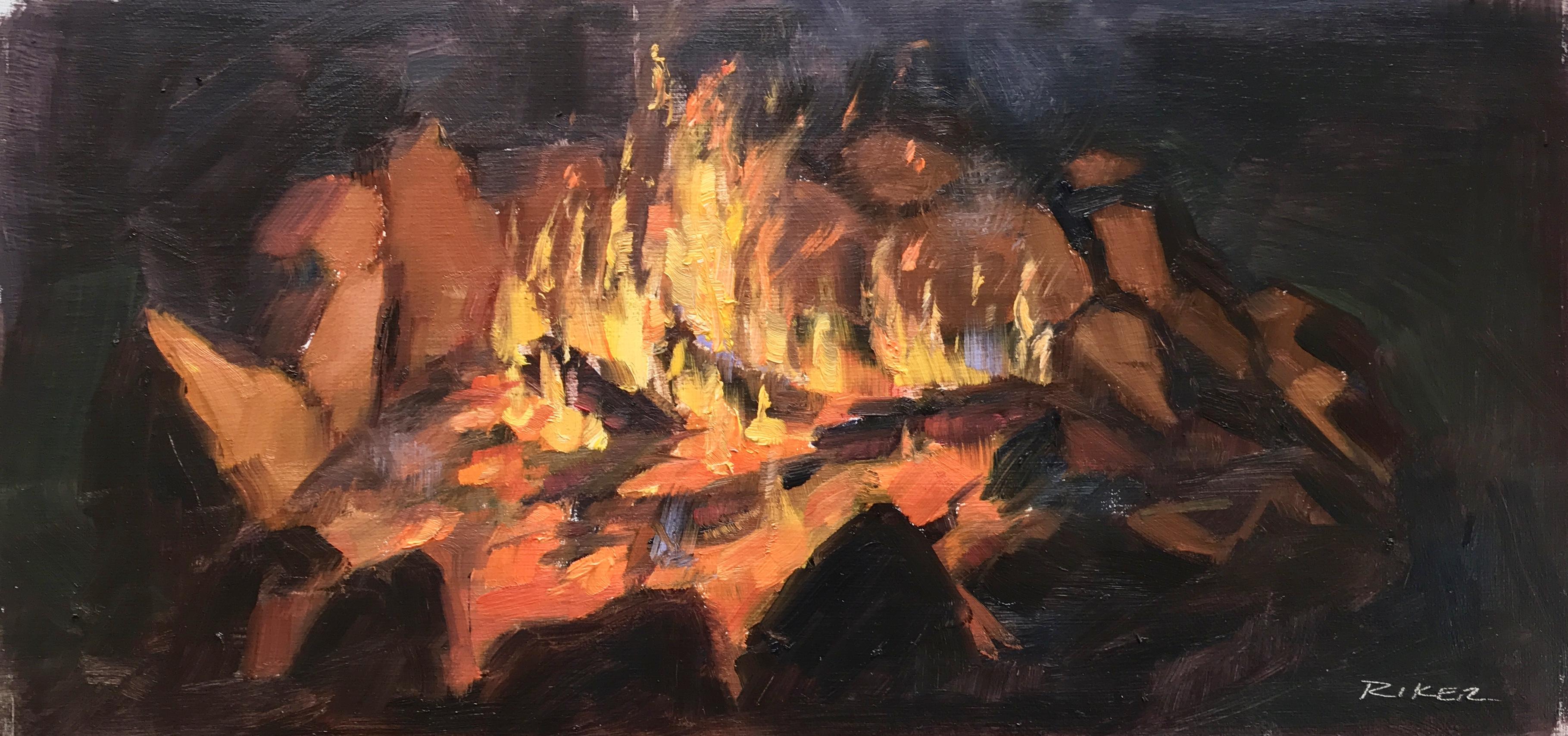 Campfire, 6x12 oil