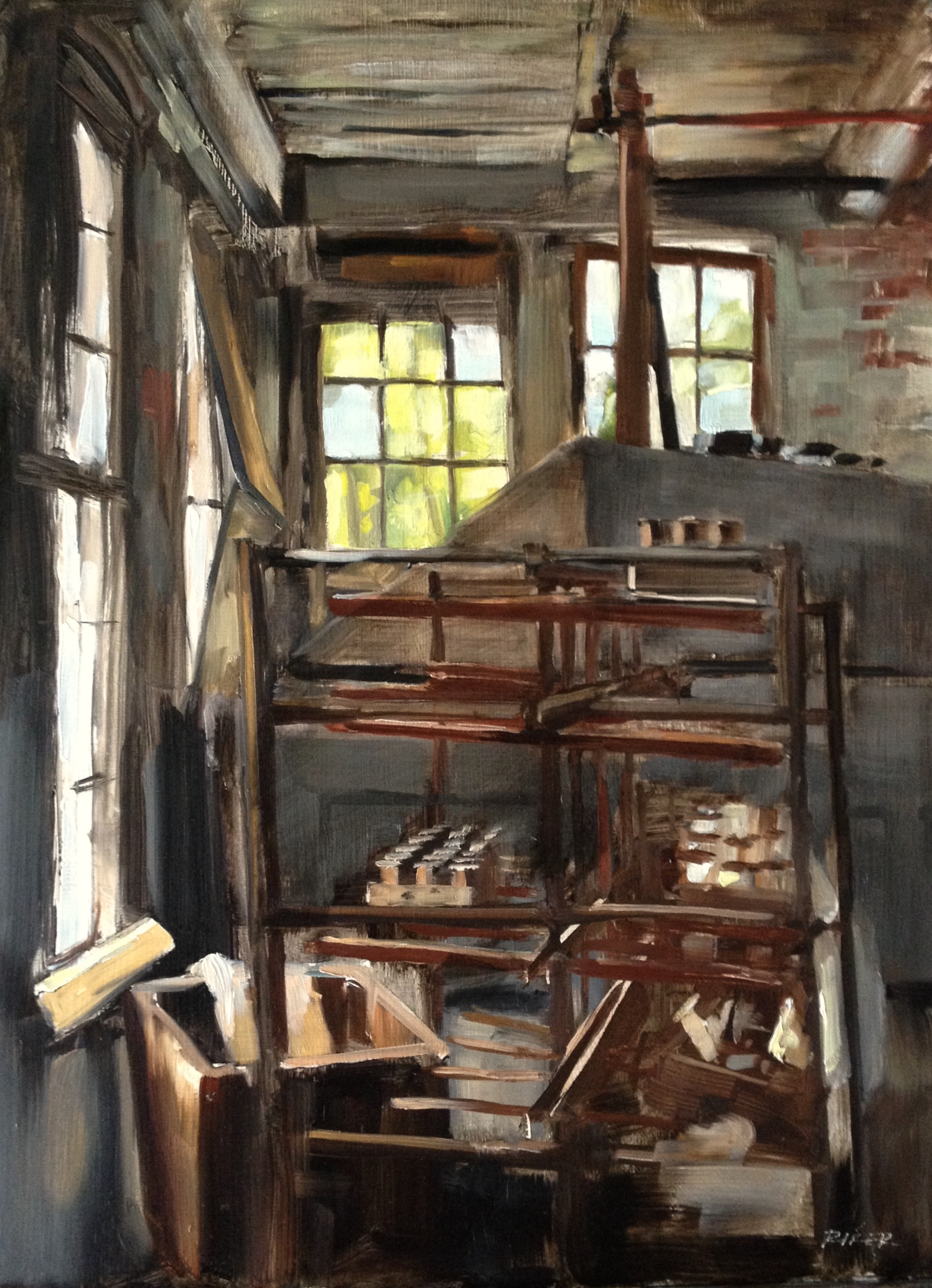 Lonoconing Silk Mill, 12x16, Featured in Fine Art Connoisseur Magazine