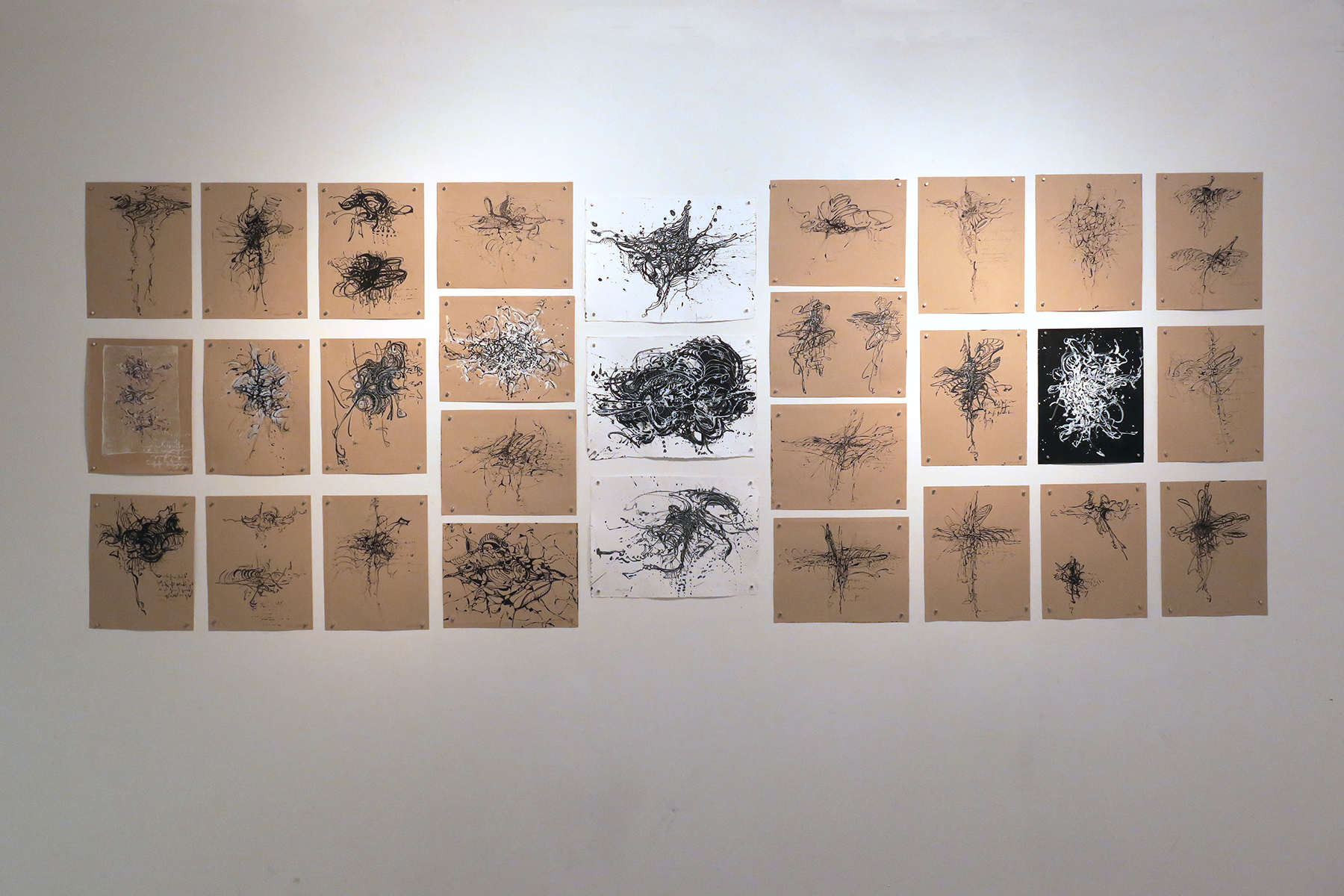 Kathryn Hart, Daunting Transitions Solo Show, Grid of 30 Ink Drawings, Krakow 2018