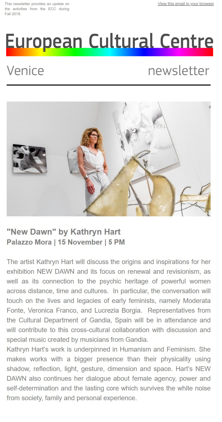 Kathryn Hart: NEW DAWN Discussion, European Cultural Centre, Palazzo Mora 15 November 2019