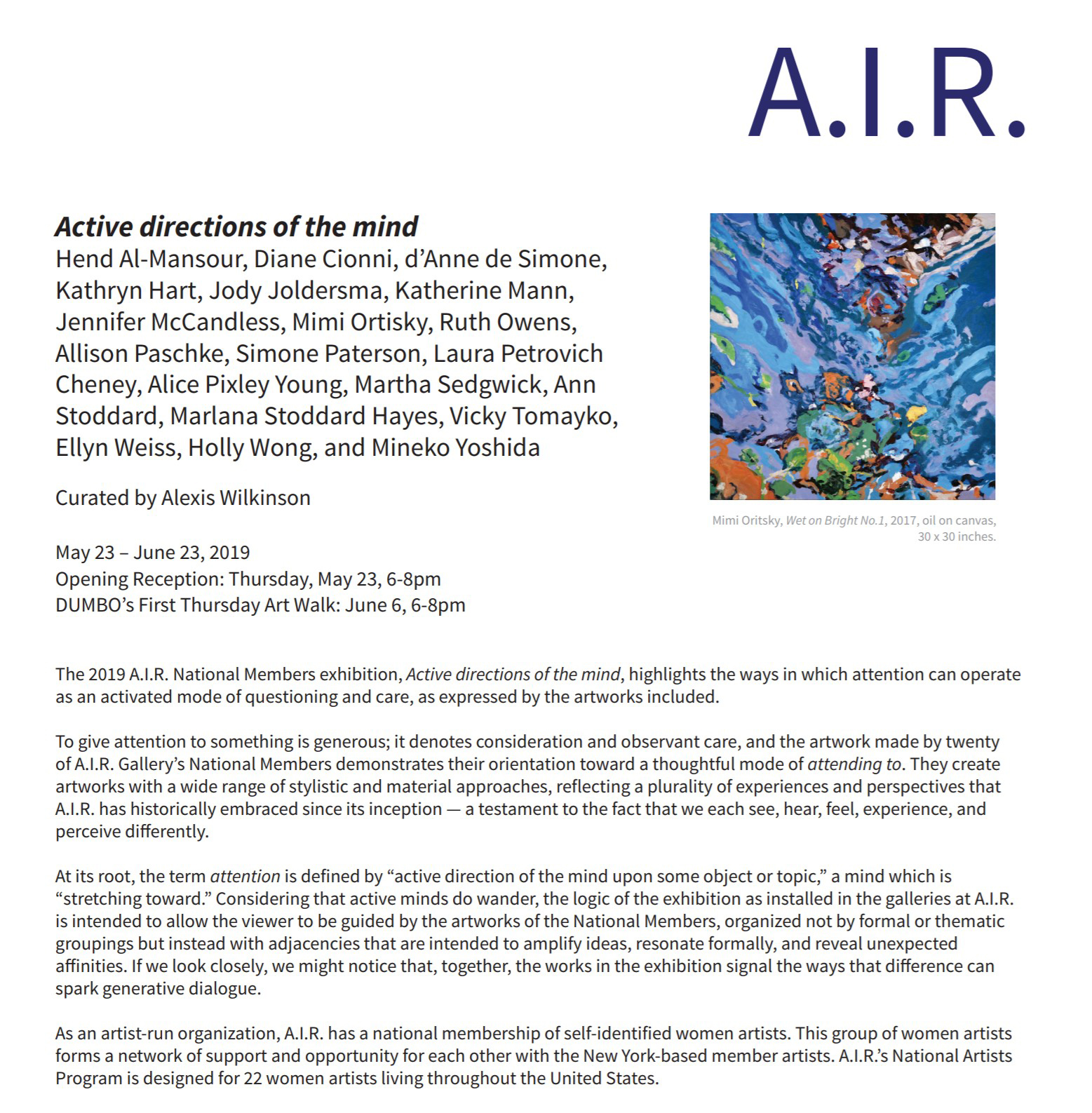 Active Directions of the Mind, A.I.R. Gallery 2019, Kathryn Hart