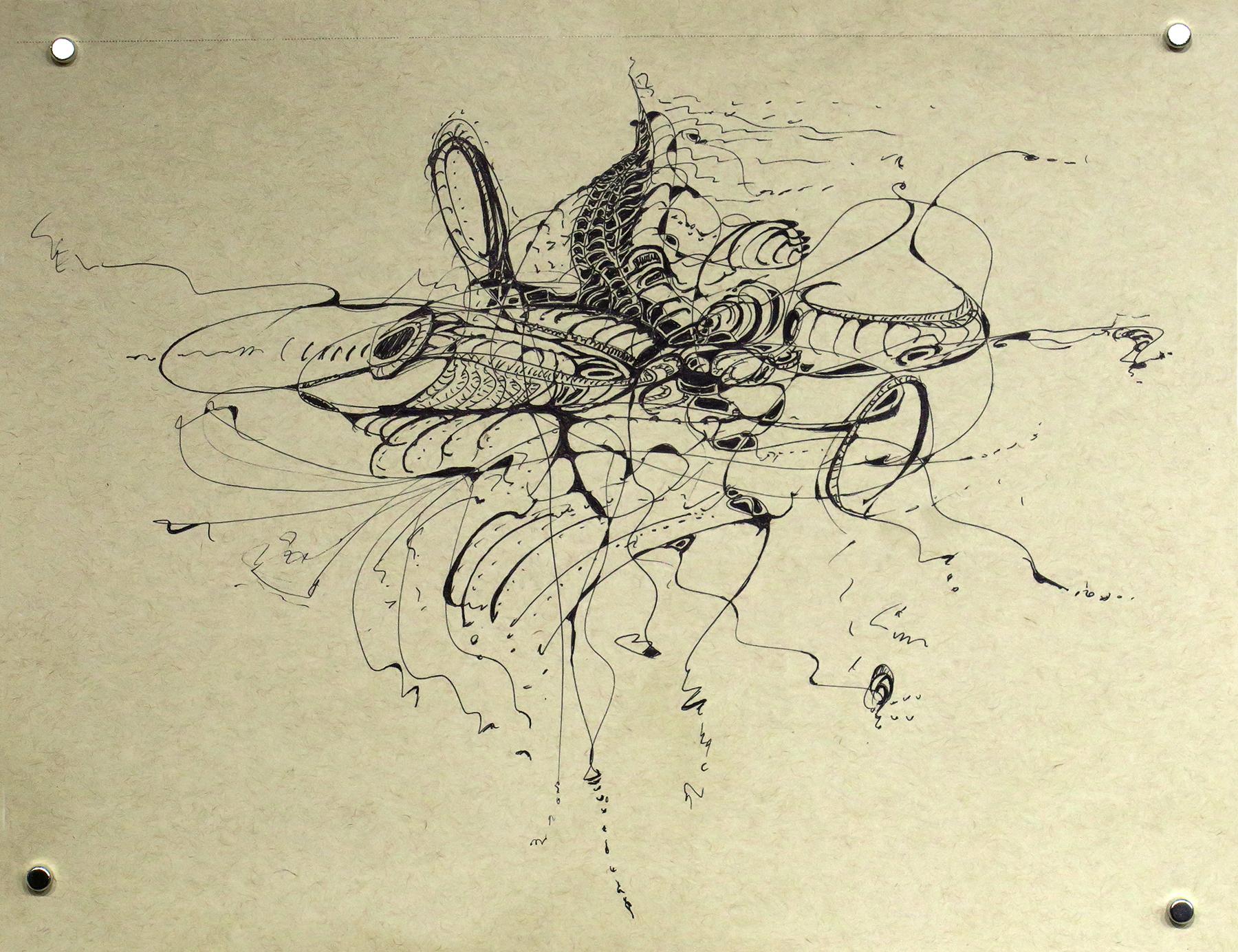 Kathryn Hart, Daunting Transitions, Krakow, Ink Drawing 6