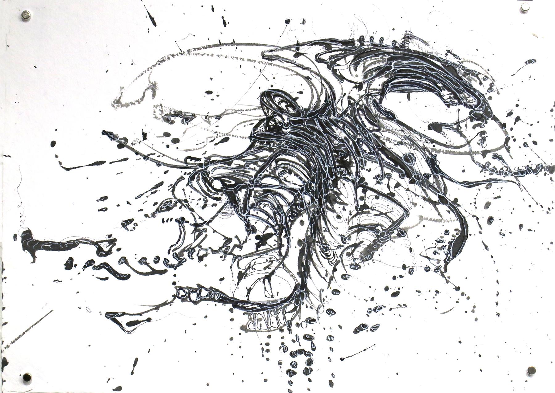 Kathryn Hart, Daunting Transitions, Krakow Ink Drawing 1
