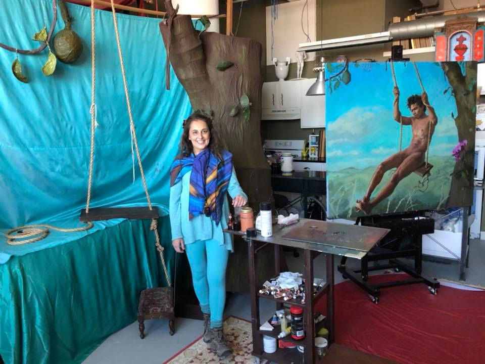 "Michela in her studio with her most recent painting in progress ""The Memory of Youth"" foto by Eric Rhoads"