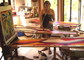 patti painting in her kitchen studio