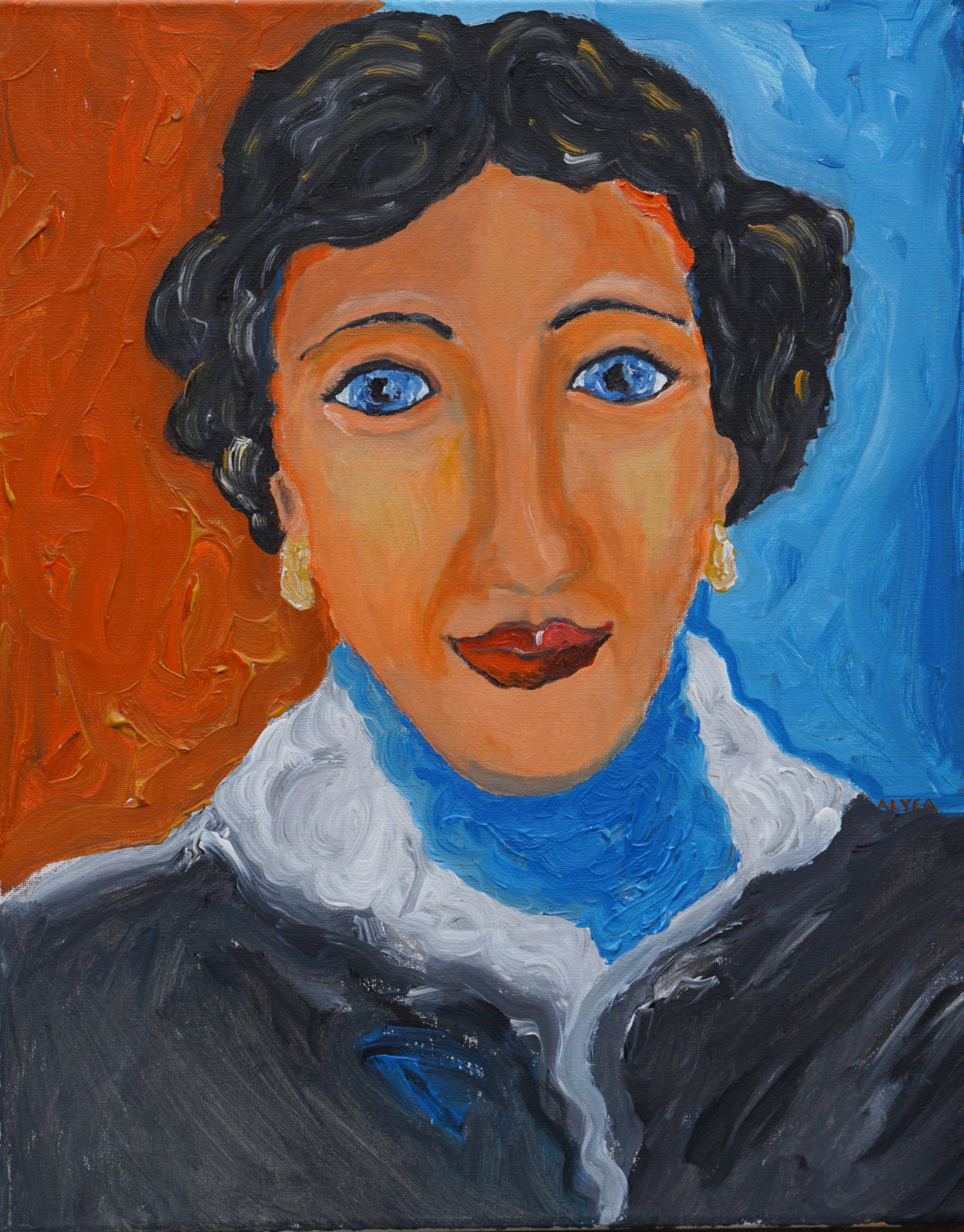 Woman in a Blue Scarf and Lace