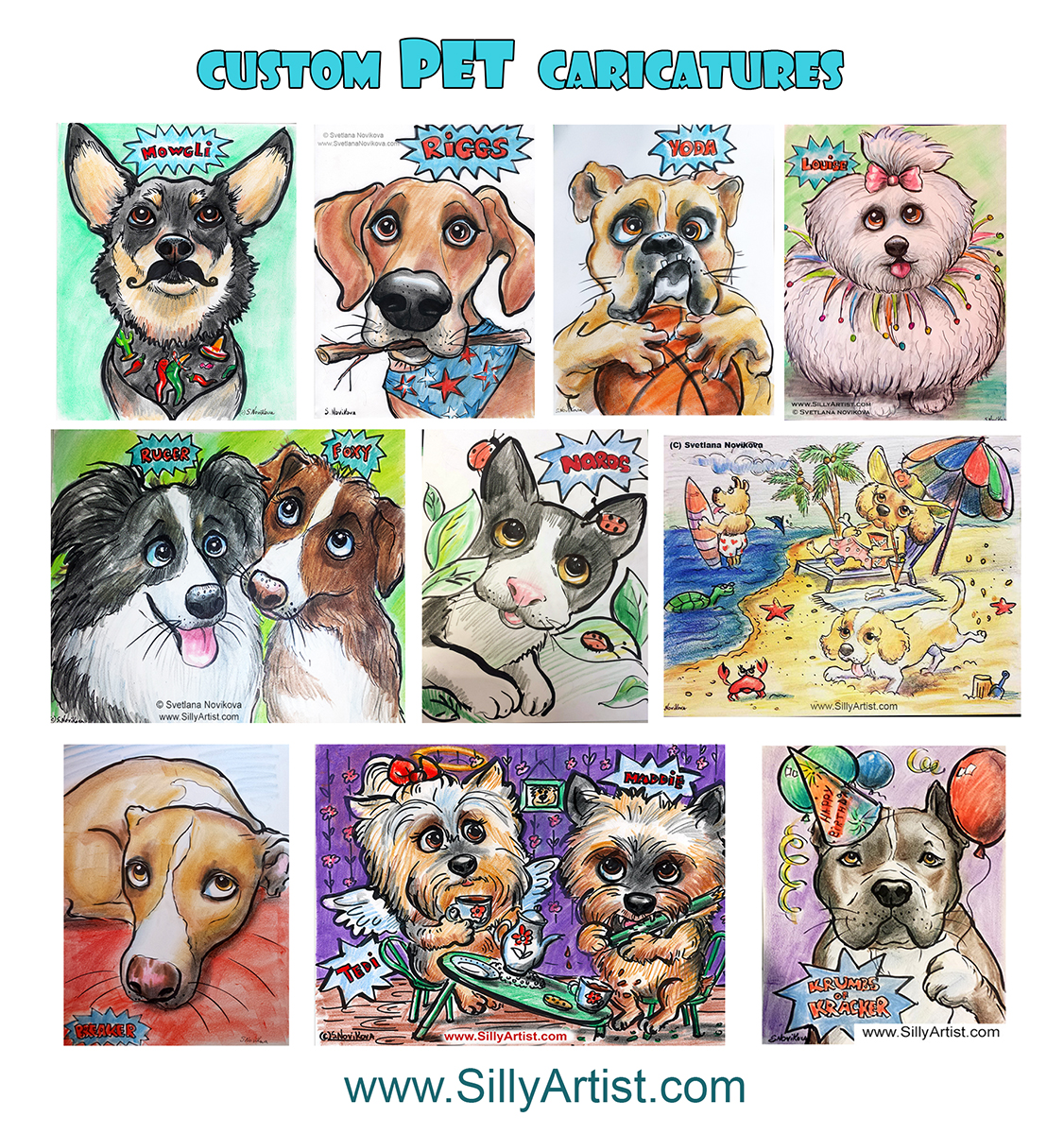 custom event dog cat pet caricature art from photos in austin
