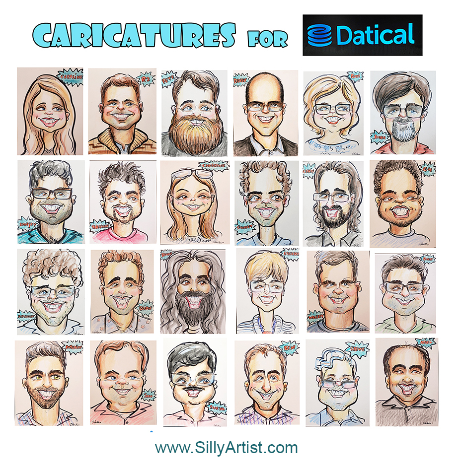 corporate company caricatures in austin artist book