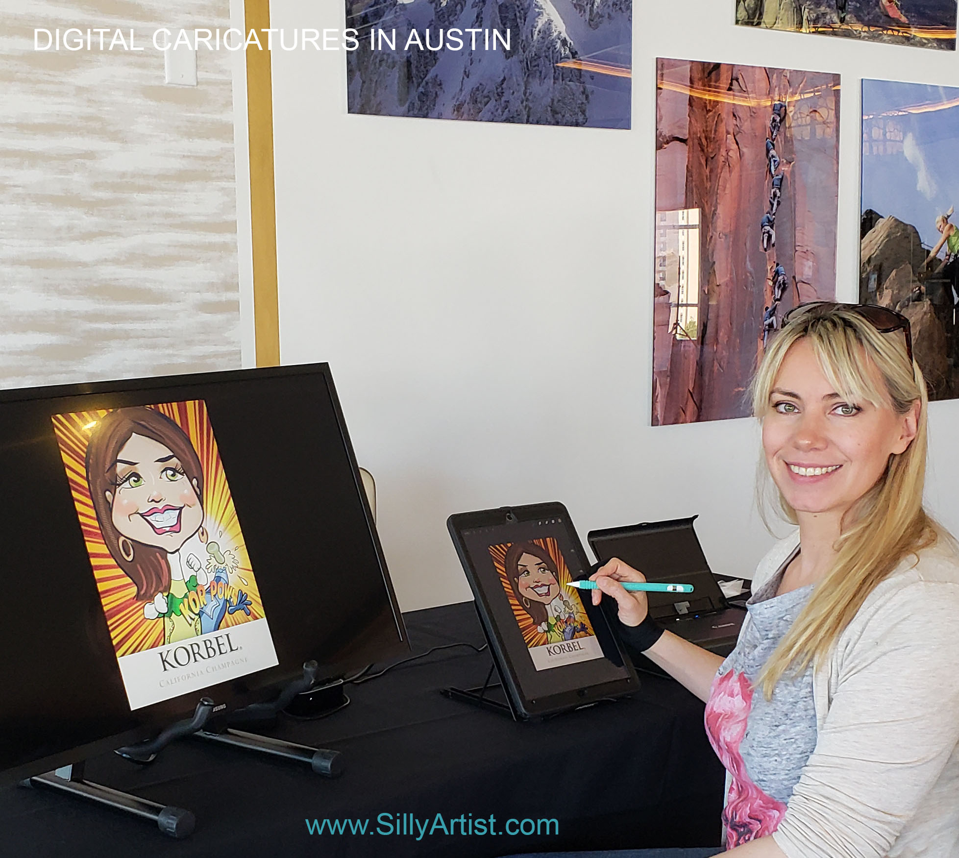 book digital caricature artist in austin for party