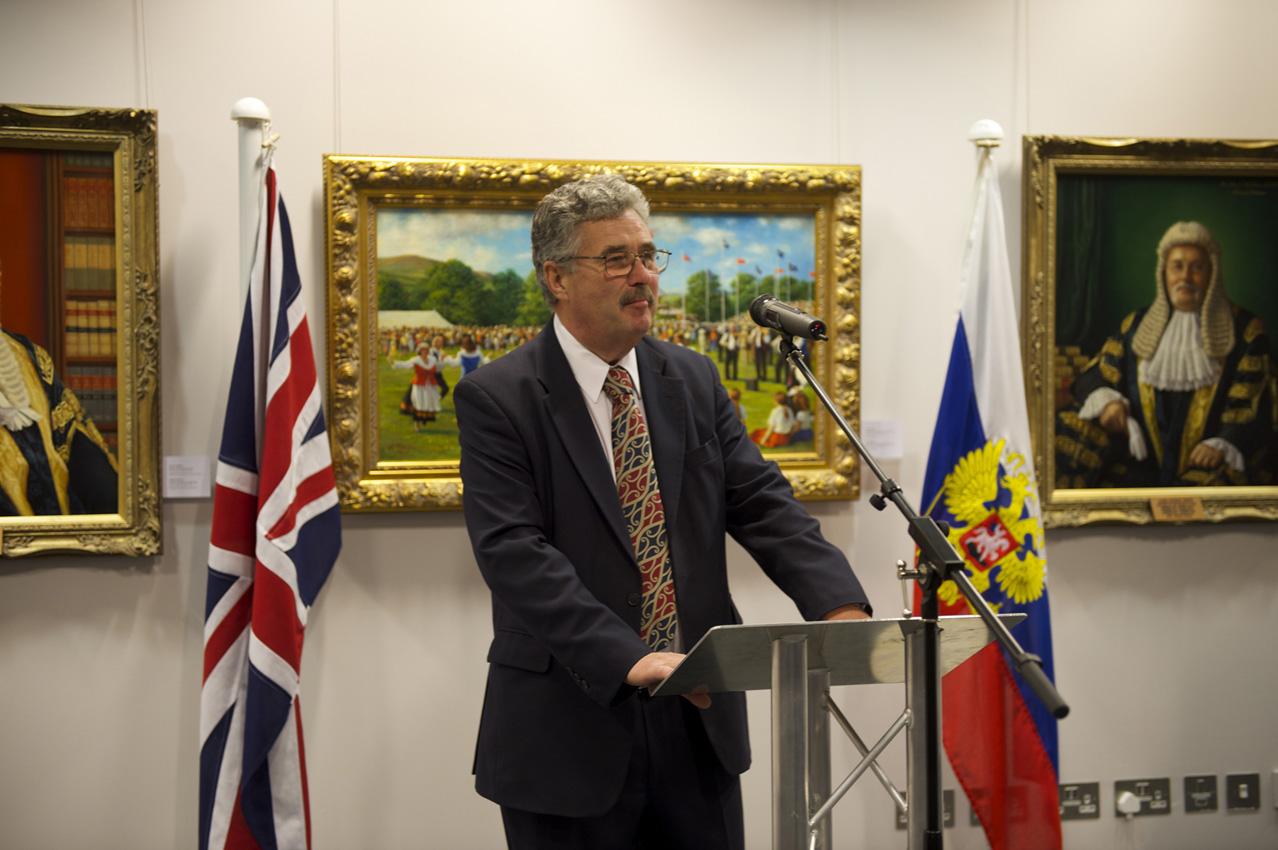 President of Isle of Man Parliament Hon Steve Rodan at Svetlana Cameron London exhibition