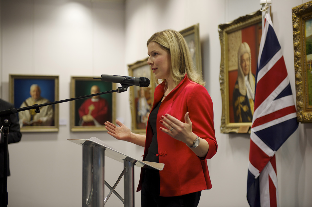 Svetlana Cameron speaks at the opening of her solo exhibition in London
