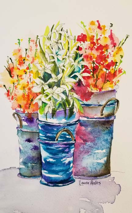 Flowers in Pots by Laurie H.